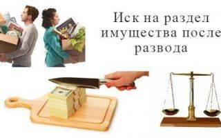 Иск на раздел имущества после развода