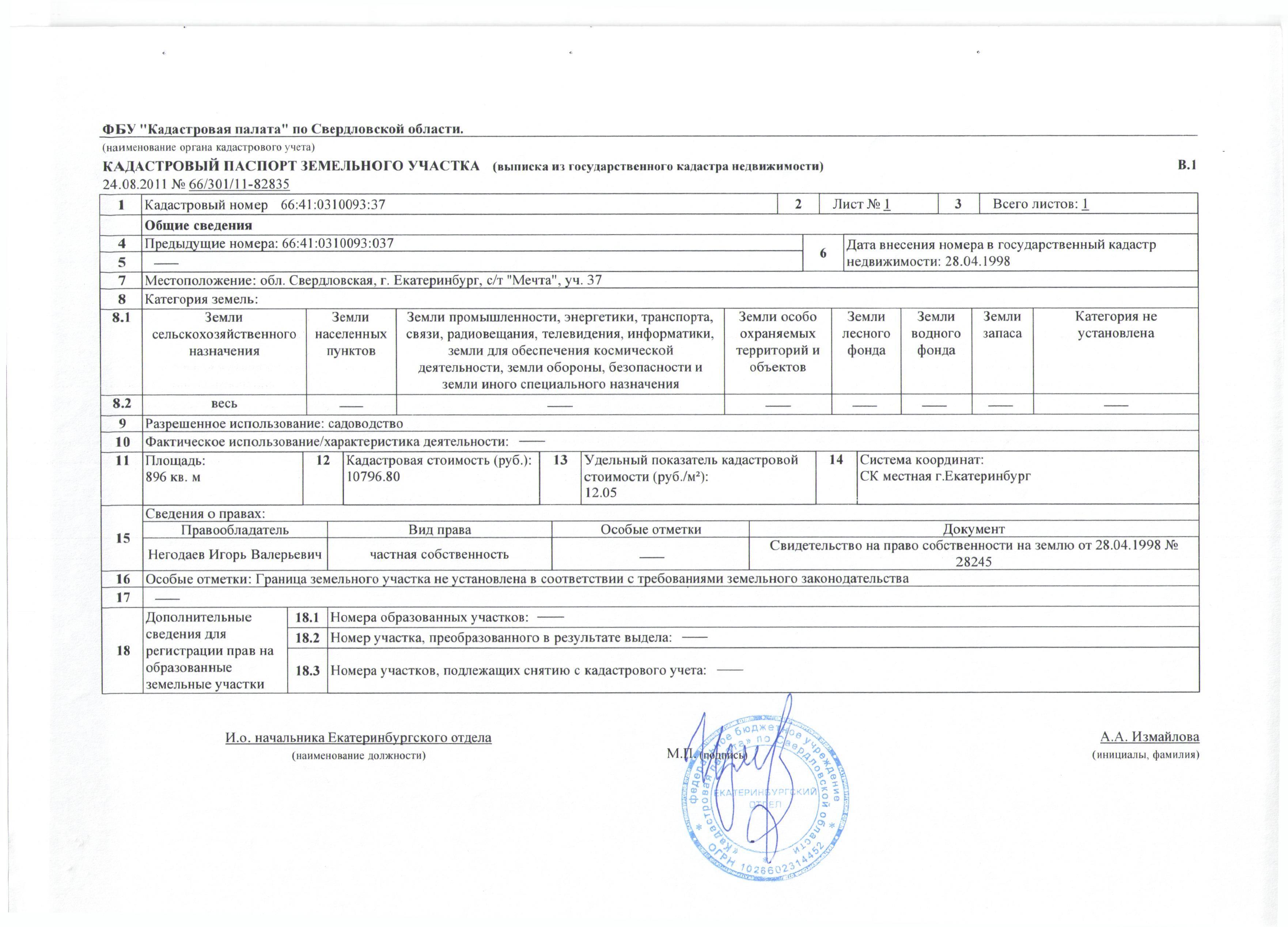 Как выглядит кадастровый паспорт на земельный участок: образец, фото и описание разделов документа
